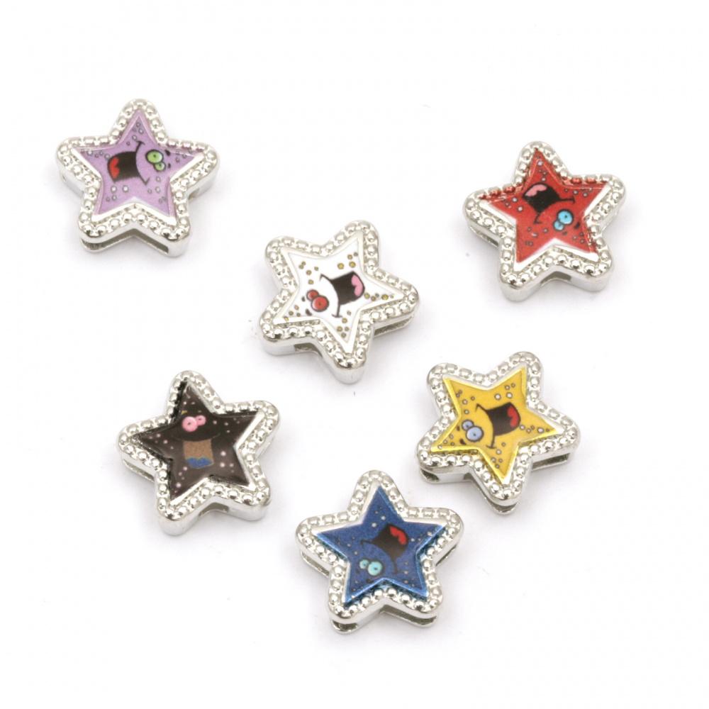 Мънисто метал звезда цветна 13x13x5 мм дупки 3 и 9 мм цвят сребро -6 броя