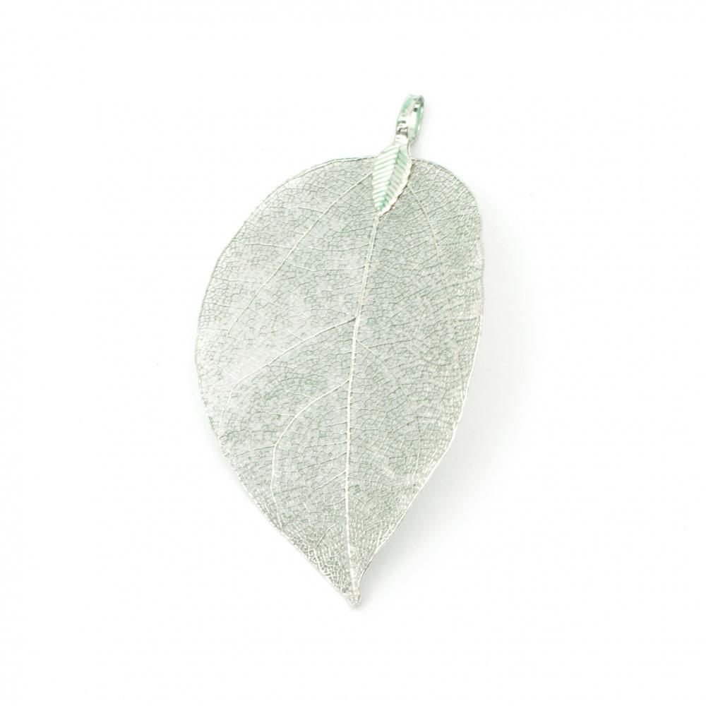 Висулка метална листо 60~70x30~40x1 мм дупка 4x6 мм цвят зелен