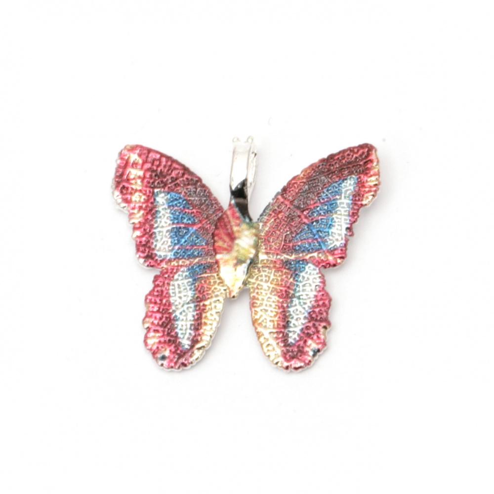 Висулка метална пеперуда 28x31x1 мм дупка 4x6 мм многоцветна