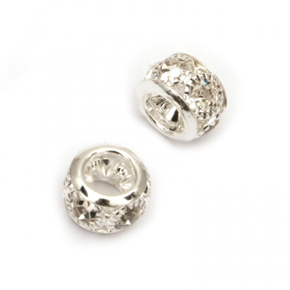 Мънисто метал с кристали топче 8.5x8.5x6 мм дупка 3.5 мм цвят сребро -5 броя