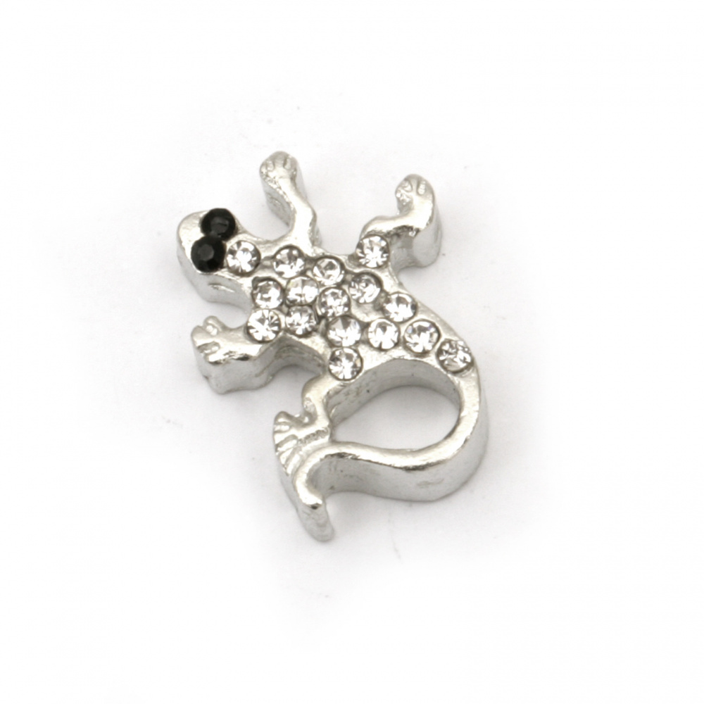 Мънисто метал с кристали гущер 16x14x5 мм дупка 2 мм цвят сребро -2 броя