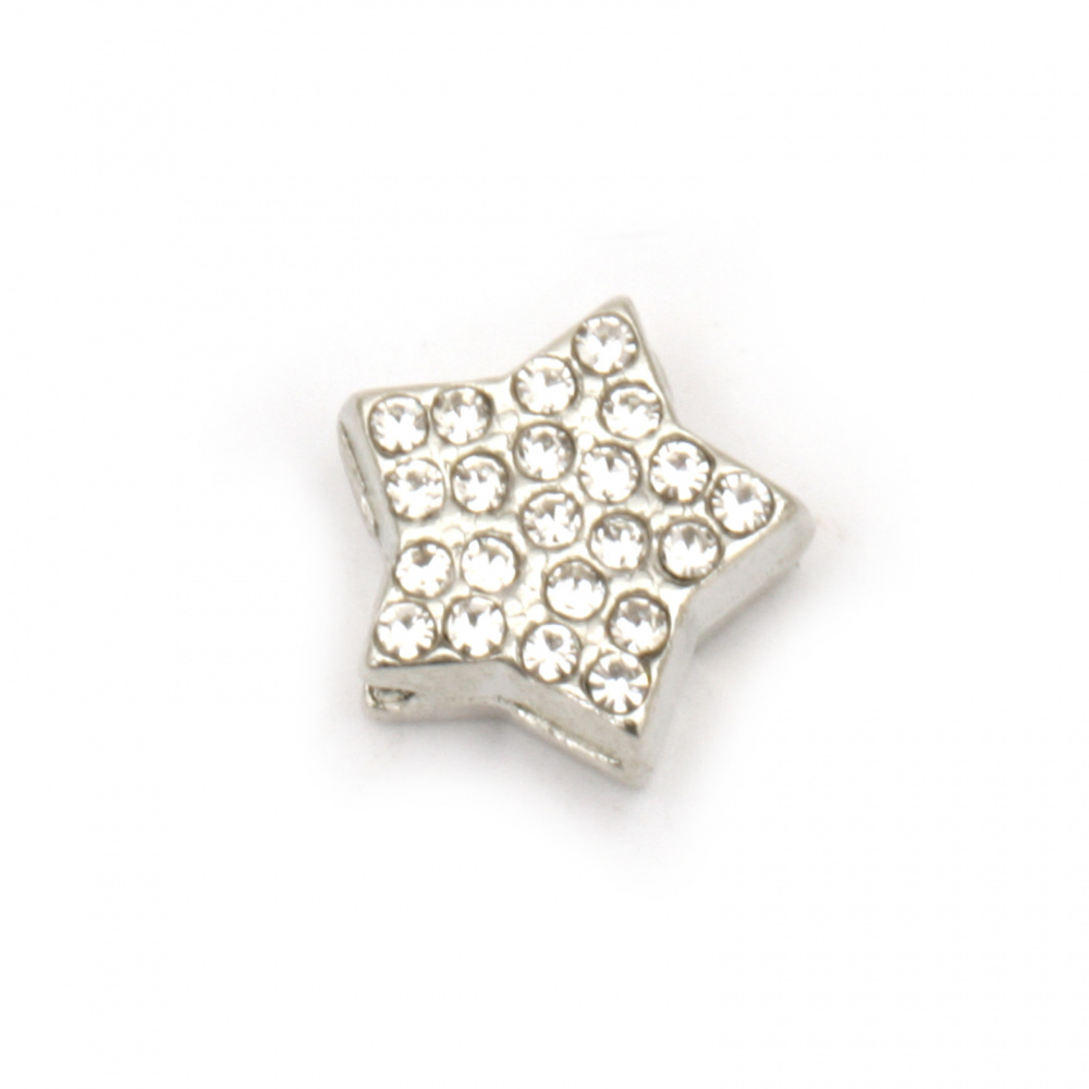 Мънисто метал с кристали звезда 10x11x5 мм дупка 2 мм цвят сребро -2 броя