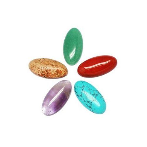 Semi-precious stones cabochon type 30 x 15 x 6 mm