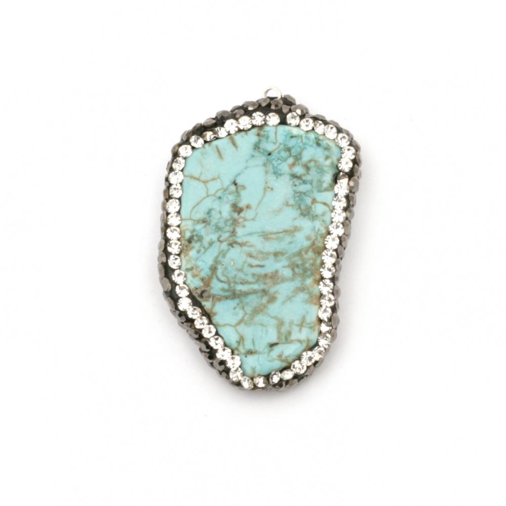 Висулка с тюркоаз синтетичен камък  с поимер и кристали 27±32x7 мм дупка 1 мм