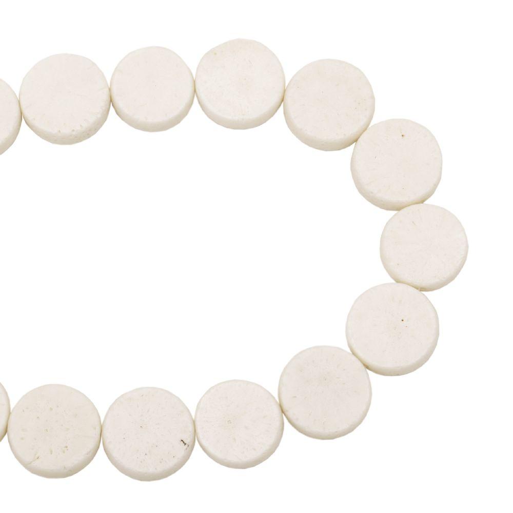 Κοράλλι στρόγγυλη πλακέ ημιπολύτιμη χάντρα 20x8 mm λευκό~ 20 τεμάχια