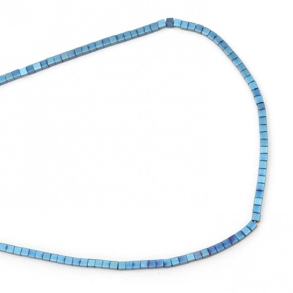 Наниз мъниста полускъпоценен камък ХЕМАТИТ немагнитен клас А куб цвят син 3x3x3 мм дупка 0.5 мм ~122 броя