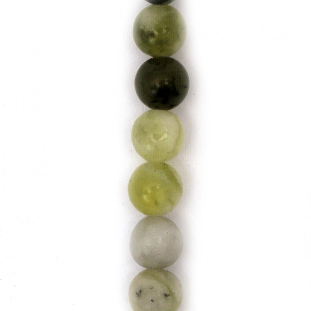 Наниз мъниста полускъпоценен камък ЖАДЕИТ Qinghua натурален топче 6 мм ~60 броя