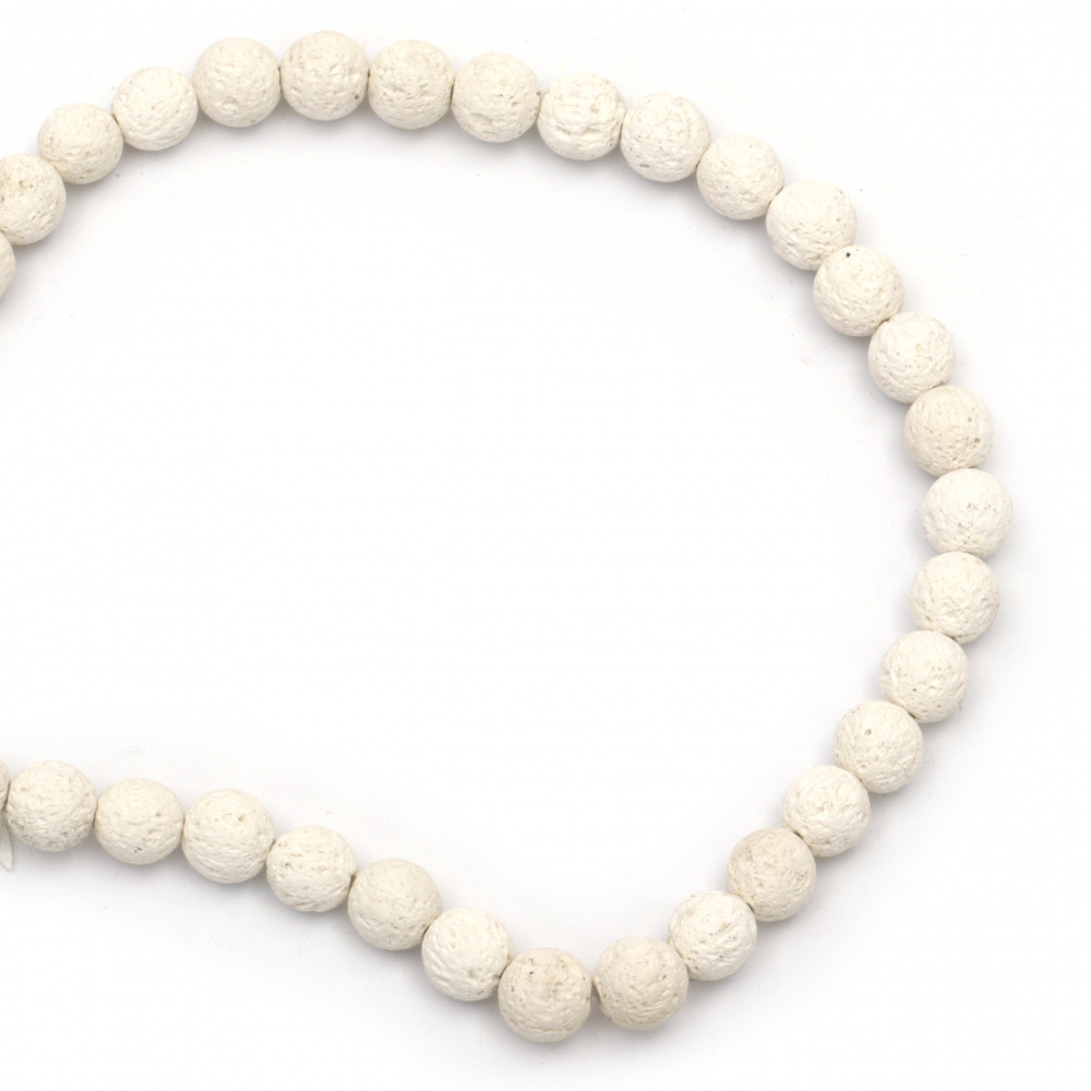 Margele de sfoară piatră semiprețioasă VULCANIC  LAVA- bilă albă 10 mm ~ 39 bucăți