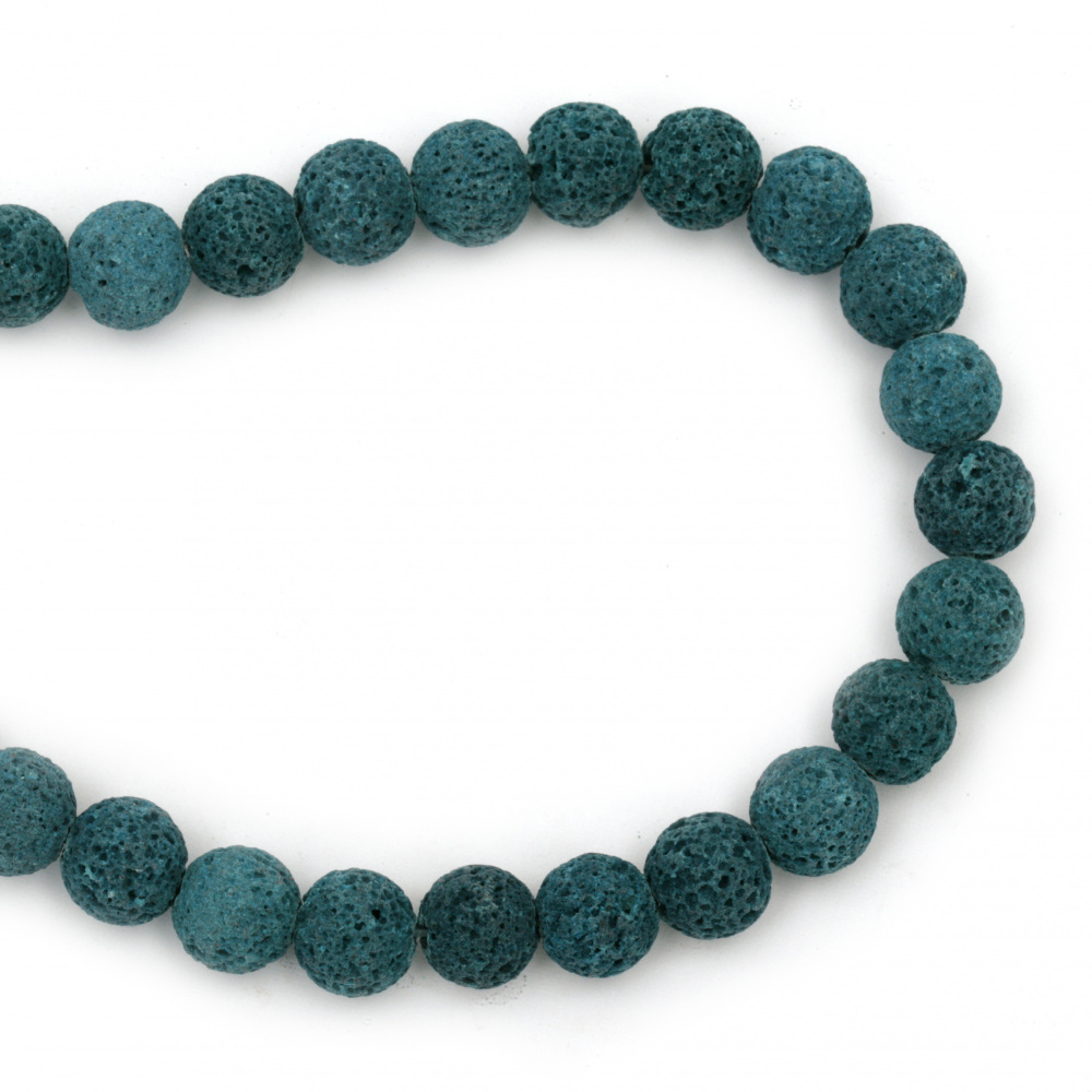 Наниз мъниста полускъпоценен камък ВУЛКАНИЧЕН - ЛАВА син топче 10 мм ~39 броя