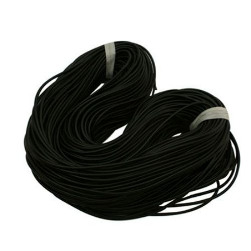Sillicone Rubber Cord, 2 mm black hole 0.5 mm -5 meters