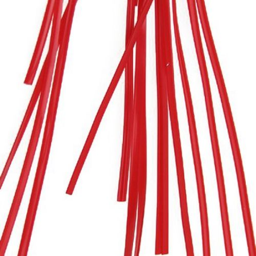 Rubber Cord, Flat 2x0.8 mm 20 pieces x 1 meter red