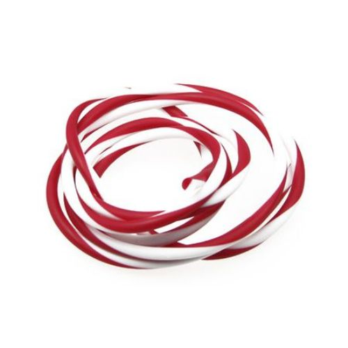 Rubber Cord, white and red 4 mm -5 meters