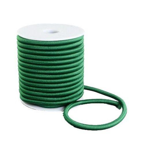 Силиконова тръбичка 5 мм дупка 2 мм облечена с конец полиестер зелен -1 метър