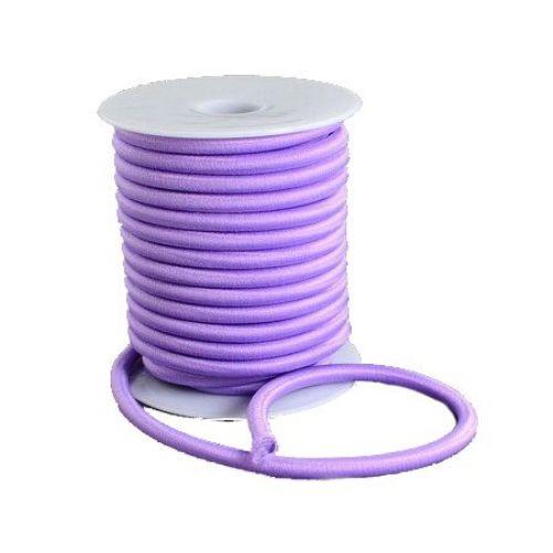 Силиконова тръбичка 5 мм дупка 2 мм облечена с конец полиестер лилав -1 метър
