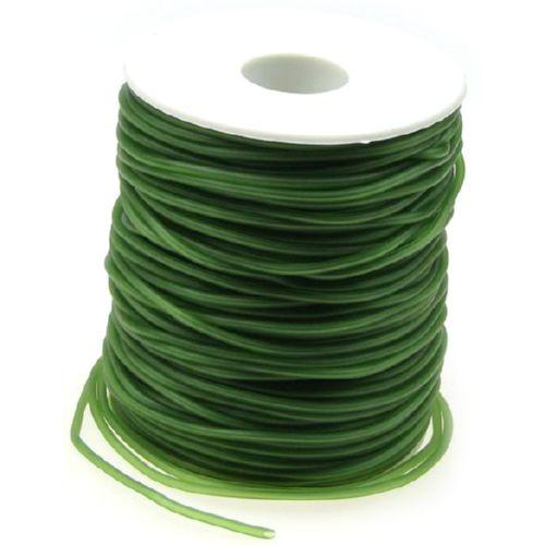Κορδόνι σιλικόνης 2 mm τρύπα 0,5 mm σκούρο πράσινο -52 μέτρα