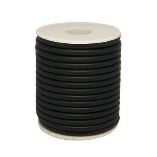 Cordon silicon gaură 2 mm 0,5 mm negru -52 metri