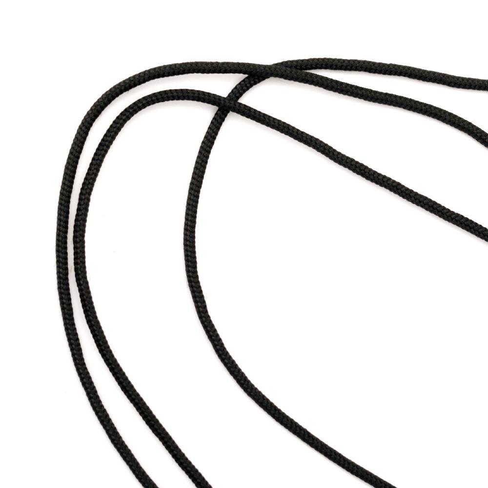 Шнур корда 2 ммК черна -30 метра