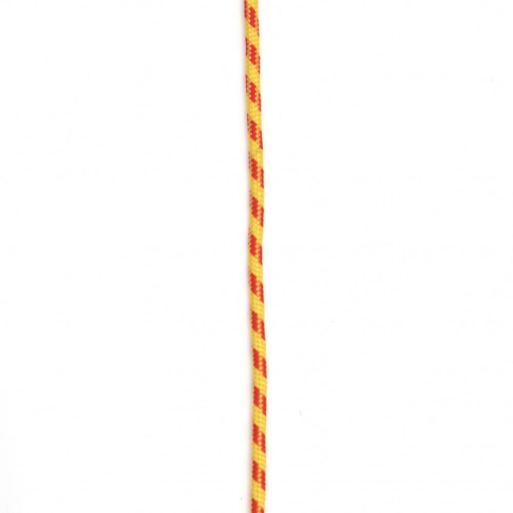 Паракорд /парашутно въже/ 3 мм цвят жълт червен - 1 метър