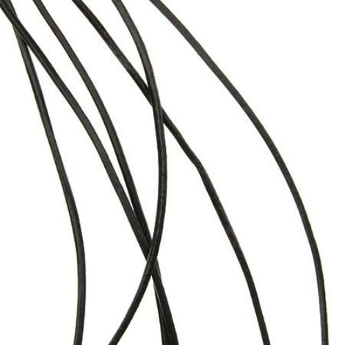 Шнур естествена кожа 1 мм черен -1 метър