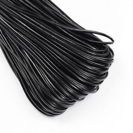 Лента/декоративна/ изкуствена кожа 2x1 мм цвят черен -1 метър