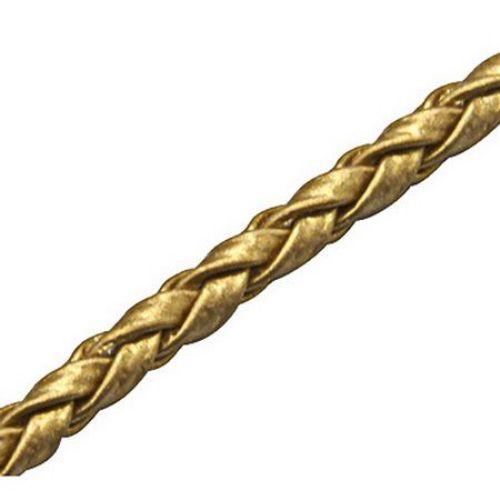 Шнур изкуствена кожа /еко кожа/ 3 мм объл плетен цвят злато -1 метър