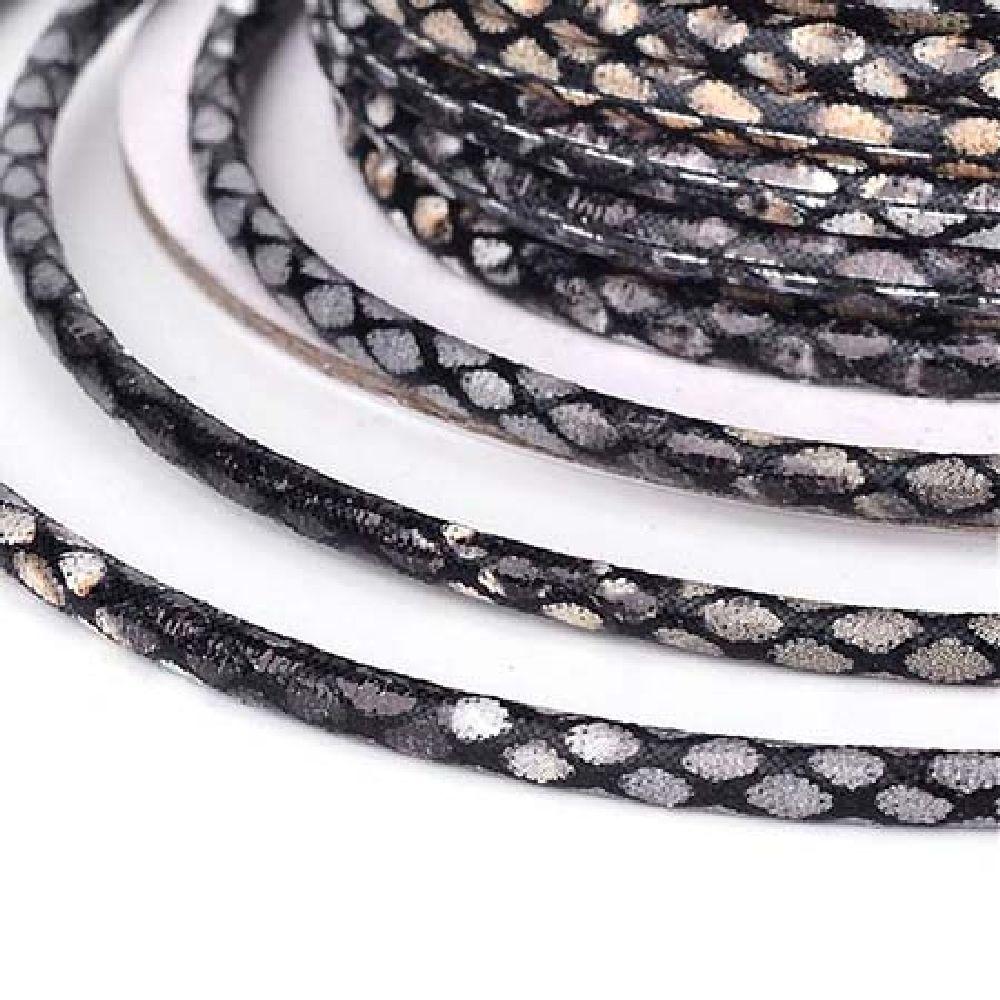 Шнур изкуствена кожа 3 мм имитация змийска кожа черна - 1 метър