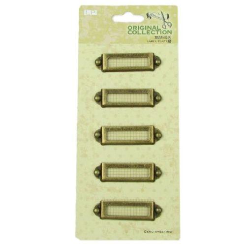 Set de plăci metalice 4.5x1.2 cm vintage - 5 bucăți