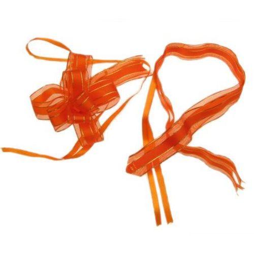 Панделка органза и сатен 95x22x1 мм цвят оранжев