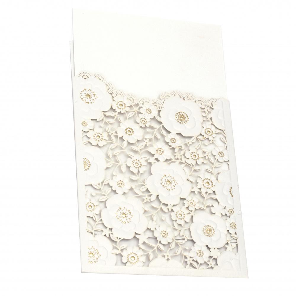 Картичка дантела цветя 185x125 мм цвят бял и злато с плик
