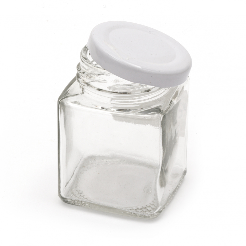 Glass jar square 53x74 mm metal cap color silver 100 ml