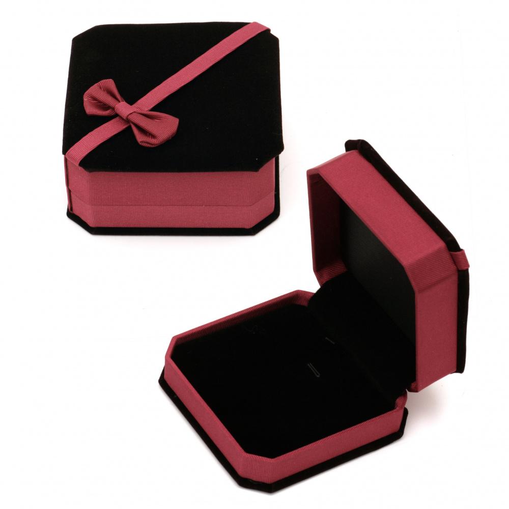 Кутийка за бижута 95x45 мм кадифена вишна