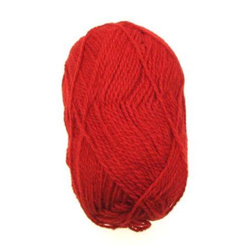 Прежда вълна Етно червена 100 грама -170 метра