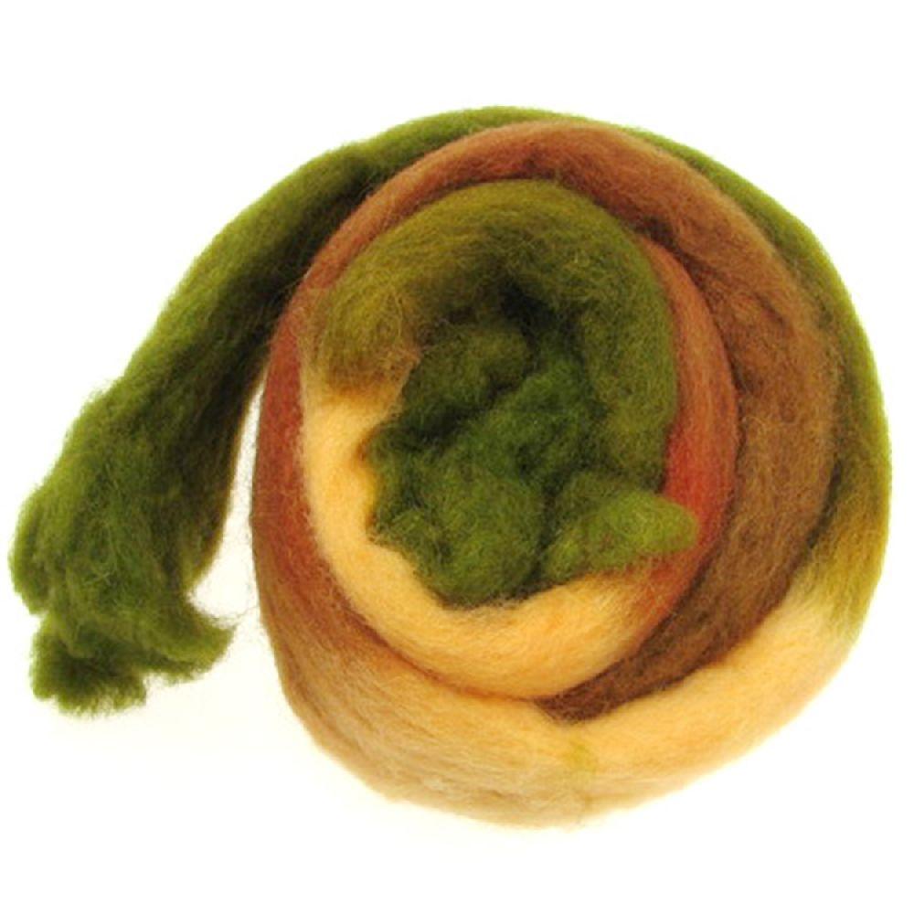 Прежда ВЪЛНА филц лента меланж кафяво , зелено -50 грама ~1.8 метра