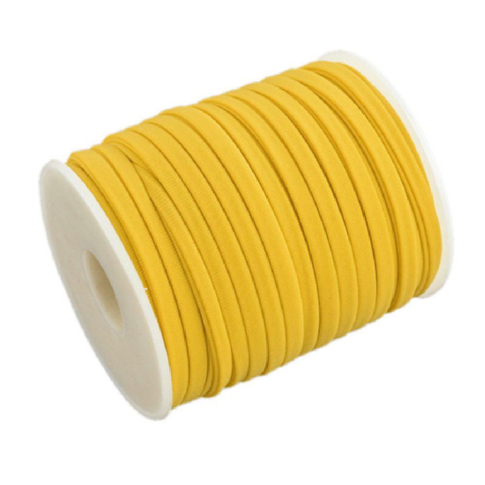 Μεταξωτό κορδόνι 5x3 mm Habotai κίτρινο -1 μέτρο