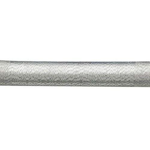 Шнур шлауфка 5 мм дупка 3 мм текстил цвят сребро -46 см