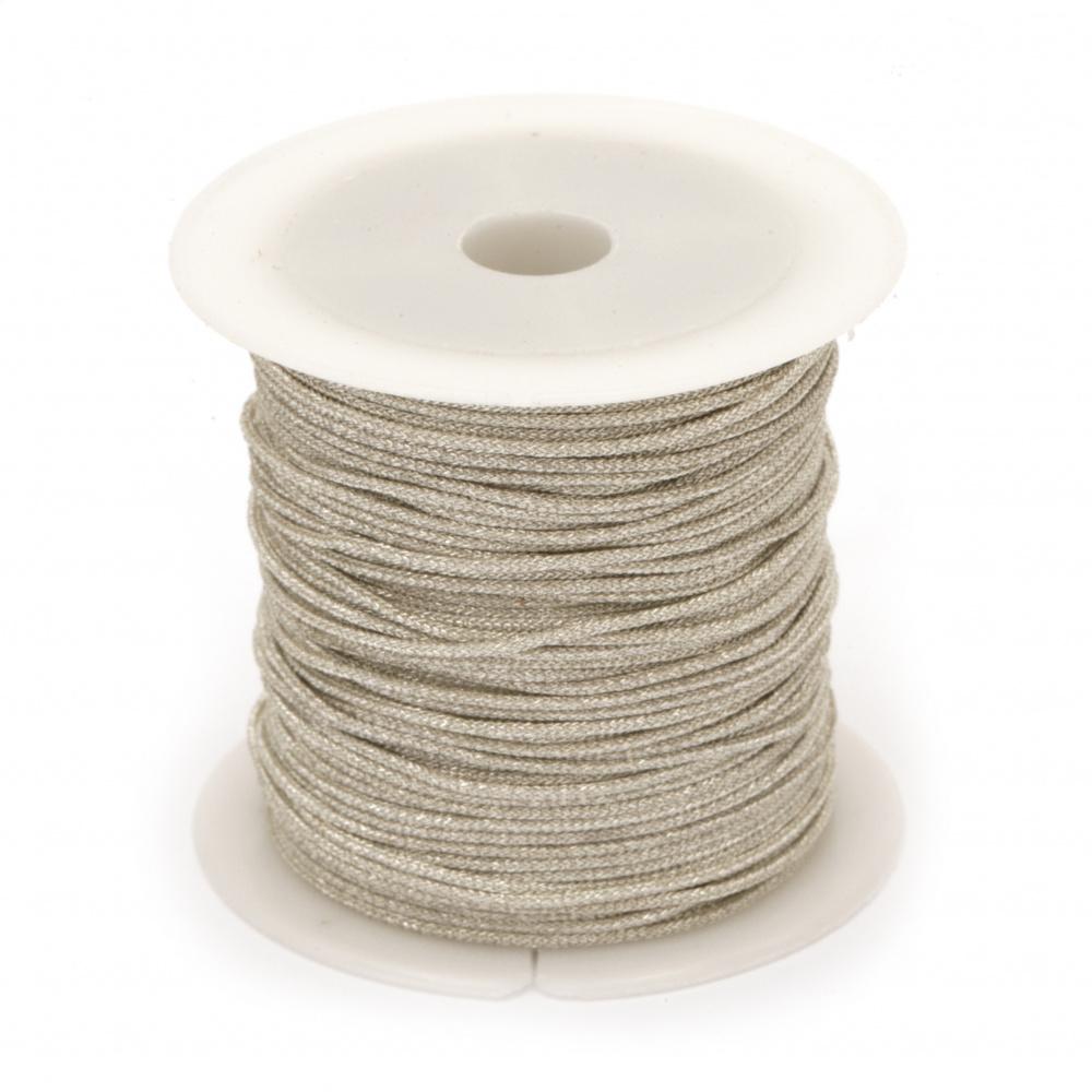 Шнур  полиестер 1 мм с ламе твърд цвят бял -10 метра