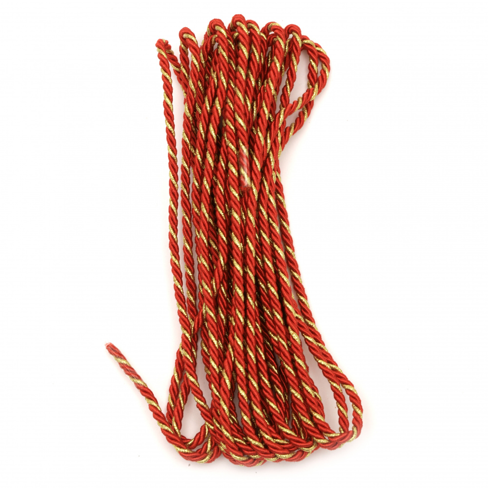 Cord polyester with lame 3 mm twisted color red and gold -5 meters
