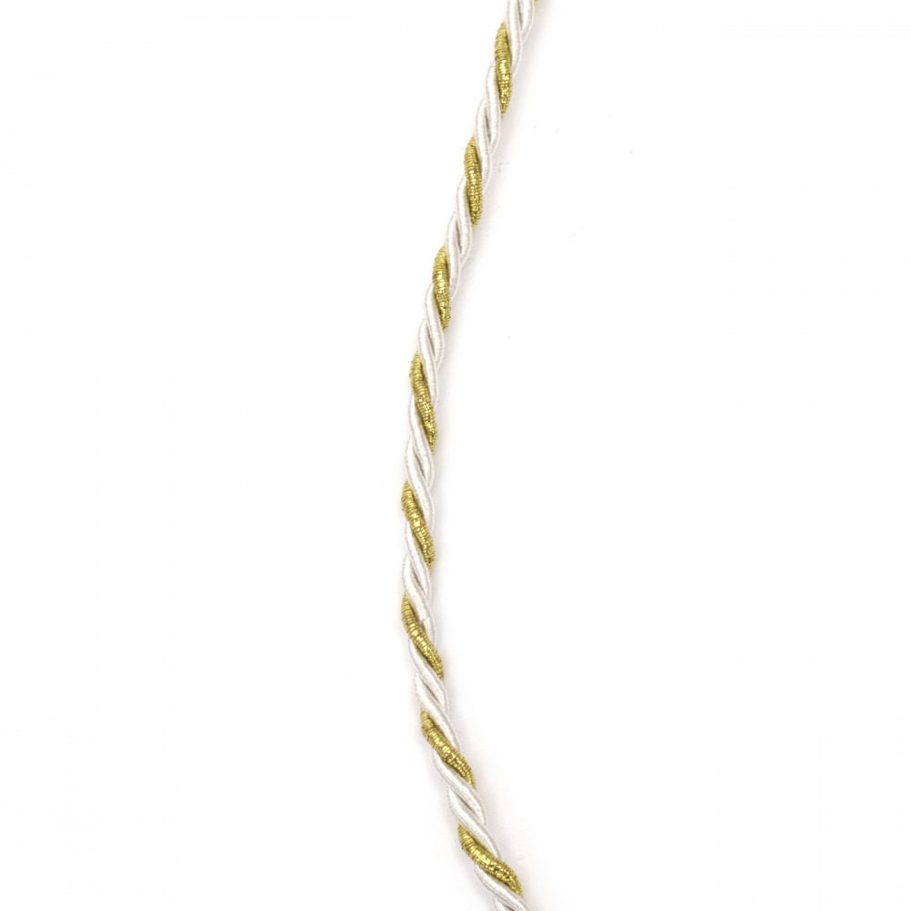 Cord polyester with lame 3 mm twisted color white and gold -5 meters