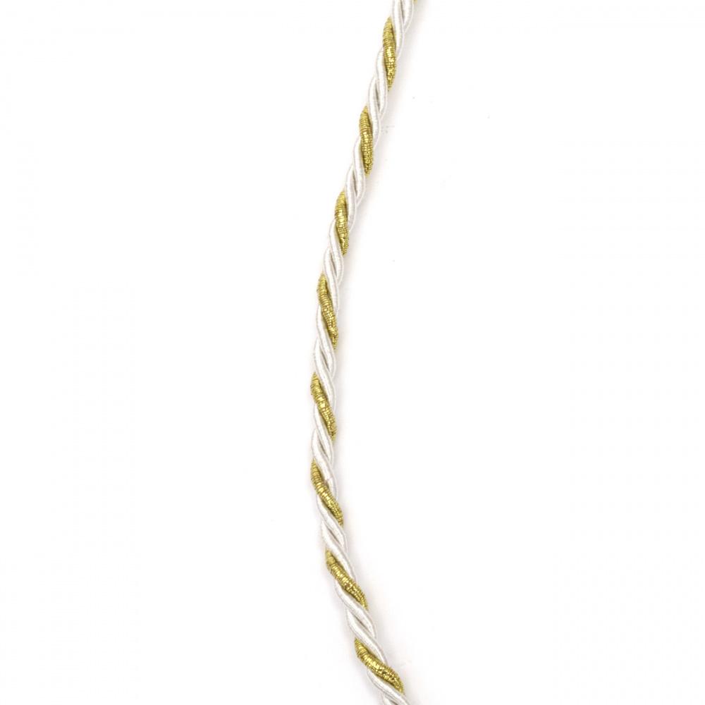 Шнур полиестер 3 мм пресукан с ламе цвят бяло и златно -5 метра