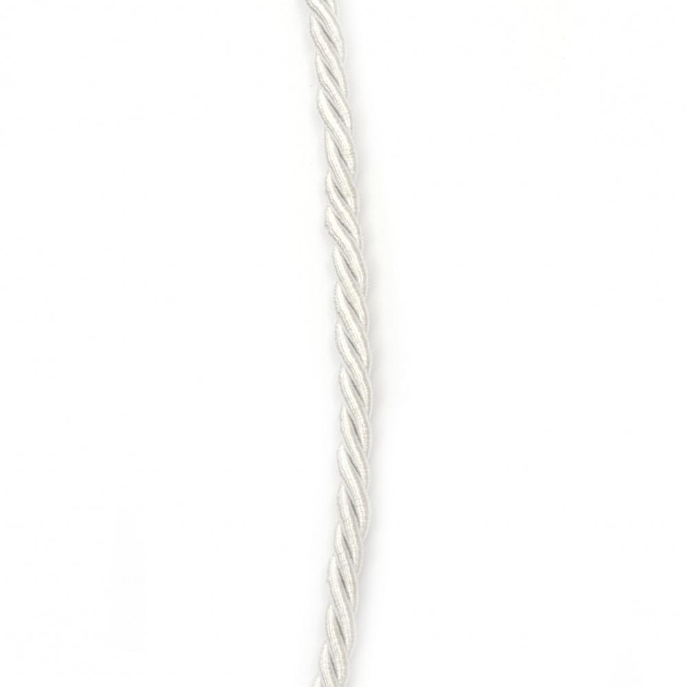 Snur poliester 5 mm răsucite culoare alb ~ 5 metri