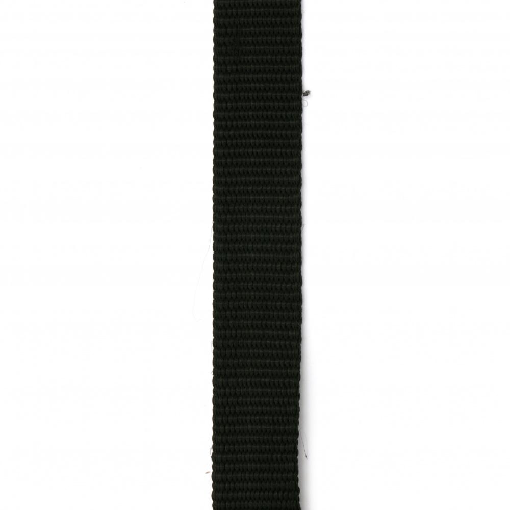 Лента полиестер 25x2 мм цвят черен -1 метър