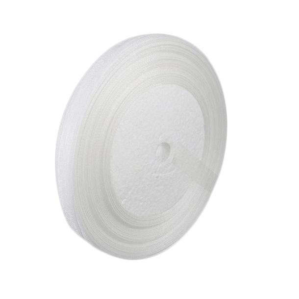 Panglică Organza 25 mm alb ~ 45 metri