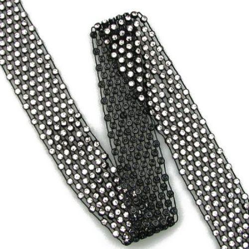 Пластмасова лента 30 мм черна с кристал стъкло прозрачен 3 мм -1 метър
