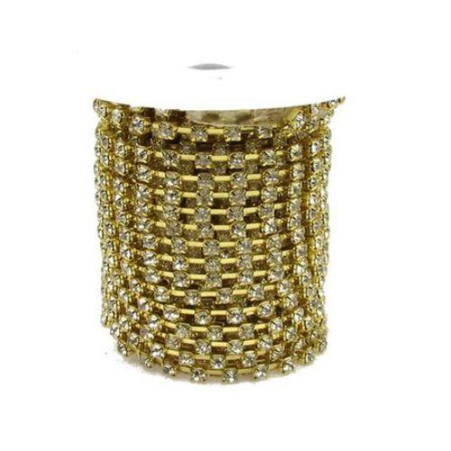 Метална лента кошничка златна с кристал стъкло SS14 1 качество -3.3 мм -1 метър