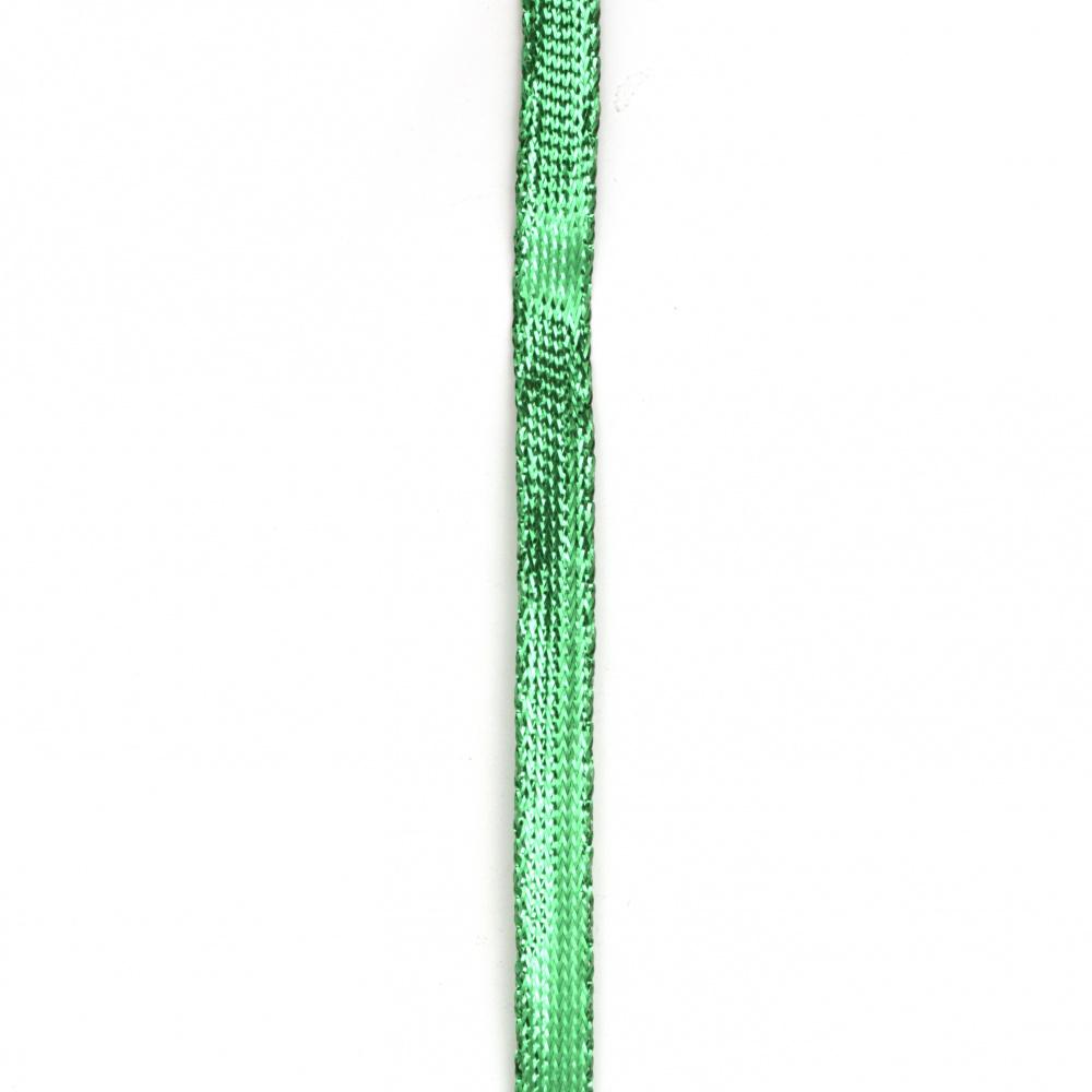 Braided Metallic Cord, Gift Wrap Craft String  8 mm flat green -5 meters