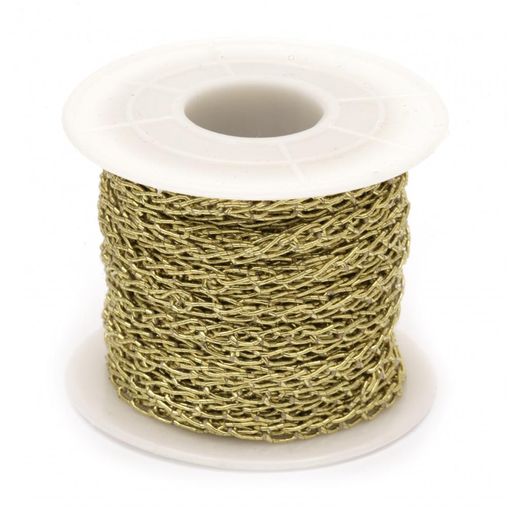 Ламе 3 мм плетено цвят злато -10 метра