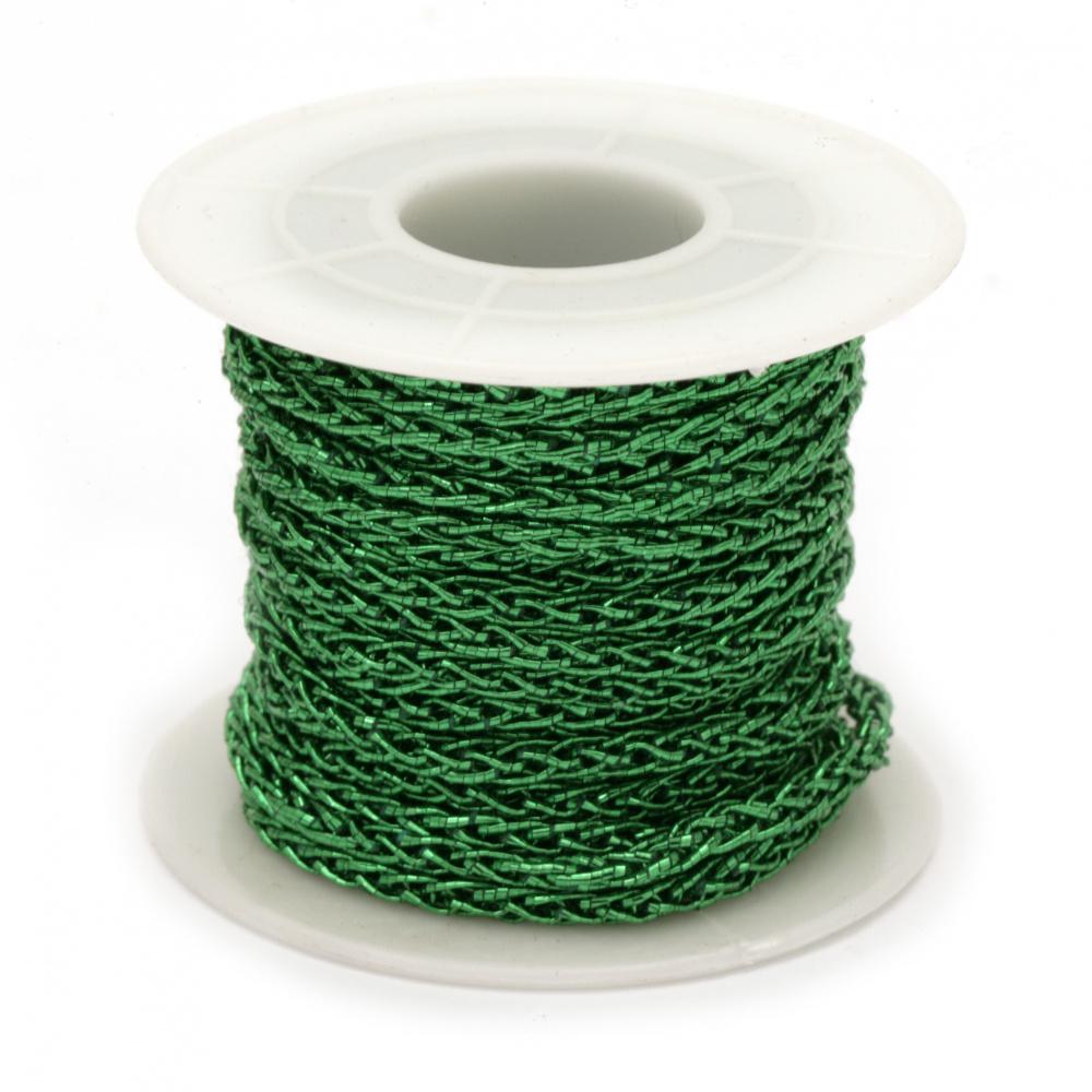 Ламе 3 мм плетено зелено -10 метра