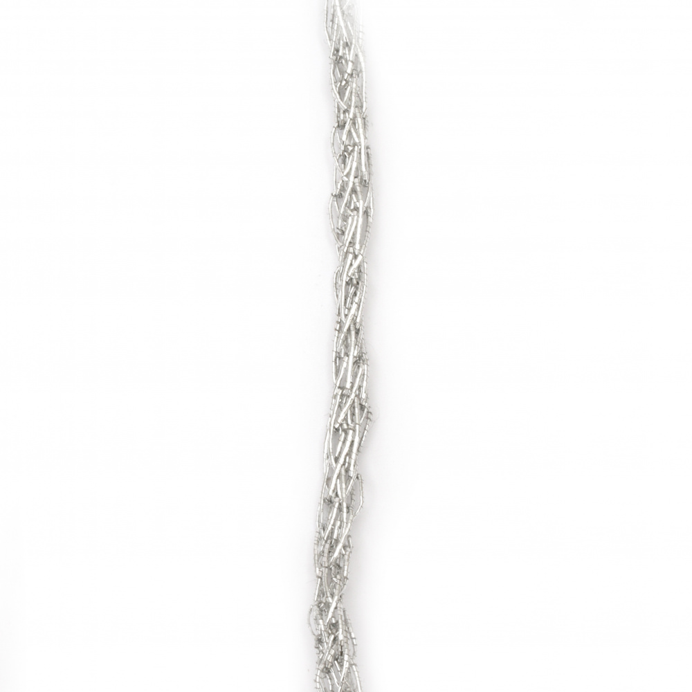 Lame 5 mm knitted color silver -5 meters