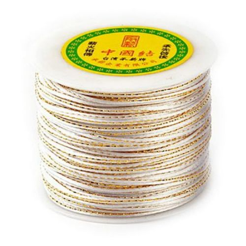 Polyester cord with lame 2 mm white -1 meter