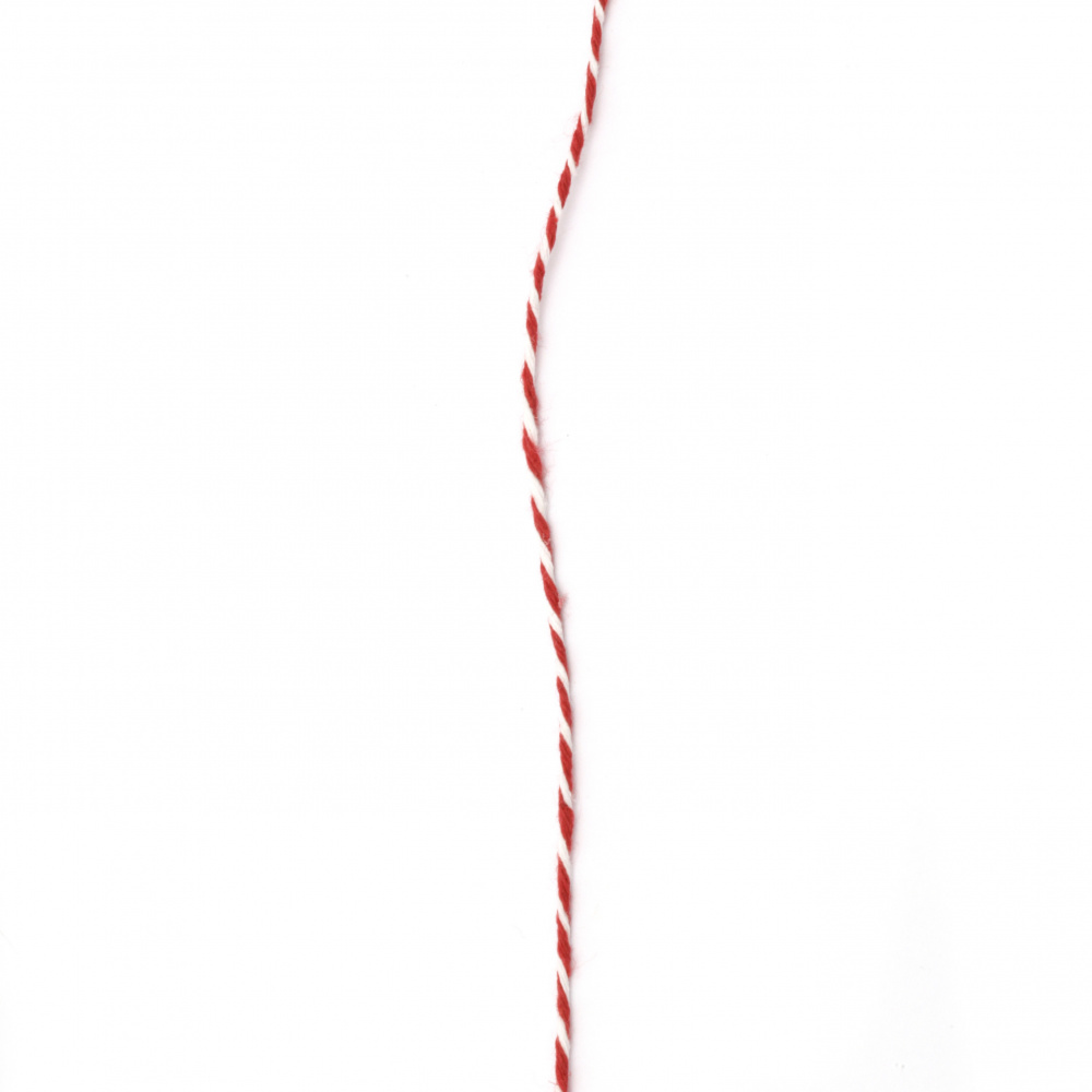 Cotton cord 2 mm pressed white and red 2x4 kata ~ 40 meters